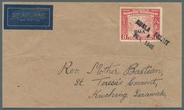 05105 Brunei - Stempel: KUALA BELAIT (type D7): 1946 (8.2.), Airmail Cover Front Bearing 8c North Borneo O - Brunei (1984-...)