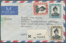 05107 Brunei - Stempel: LABI (type D2): 1968/74, Four Covers Incl. Airmails And Two Registered With Black/ - Brunei (1984-...)