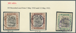 05109 Brunei - Stempel: MUARA (type D3): 1910/17, 15 `bush Huts And Canoe' Stamps With Good To Fine Cancel - Brunei (1984-...)