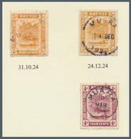 05112 Brunei - Stempel: MUARA (type D2 State III): 1924, `bush Huts And Canoe' 5c Orange Two Singles With - Brunei (1984-...)
