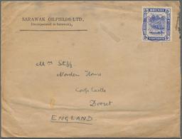 "05113 Brunei - Stempel: 1932, 8 C Ultramarine, Single Franking On Preprinted Cover From ""Sarawak Oilfields - Brunei (1984-...)"