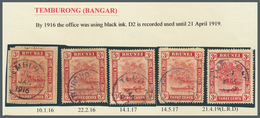 05115 Brunei - Stempel: TEMBURONG (type D2): 1916/19, Five 3c Red `bush Huts And Canoe' Stamps Incl. One O - Brunei (1984-...)