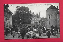 CPA Haute Vienne  NEXON  Place Du Chateau Un Jour De Foire - Frankrijk