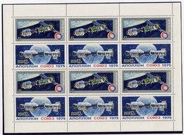 SOVIET UNION 1975 Apollo-Soyuz Flight 12 K. Sheetlet MNH / **. Michel 4372-73 Kb - Blocks & Sheetlets & Panes
