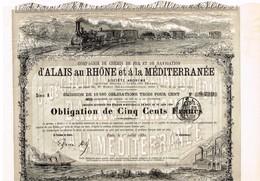 Obligation Ancienne - Compagnie De Chemin De Fer Et De Navigation D'Alais Au Rhone Et à La Méditerranée - Titre De 1880 - Chemin De Fer & Tramway