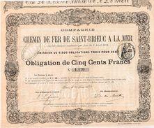 Obligation Ancienne - Compagnie Du Chemin De Fer De Saint-Brieuc à La Mer -Titre De 1872 - N°  1193 - Chemin De Fer & Tramway