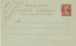 """1911- C P E P  10 C  Semeuse   """" ANNULE """"  Violet - Marcophilie (Lettres)"""
