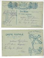 2 CARTES FM FRANCHISE MILITAIRE /FREE SHIPPING REGISTERED - Marcophilie (Lettres)