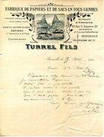 13.MARSEILLE.FABRIQUE DE PAPIERS & DE SACS EN TOUS GENRES.TURREL FILS .USINE A MOUSTIER SAINTE MARIE. (04) - Imprimerie & Papeterie