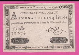ASSIGNAT - 5 Livres Du 27 Juin 1792 - Royal Timbre Sec LOUIS XVI - Assignats