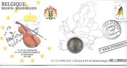 EURO BELGIQUE FDC ENVELOPPE PHILATELIQUE ET NUMISMATIQUE DU 1er JOUR D'éMISSION (A VOIR) - Belgique