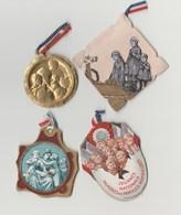 Lot De 3 épinglettes Et 1 Médaille Métal Léger - Journée Des Familles Nombreuses Et Jour De Deuil National 2 Nov 1919 - Unclassified