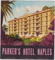 Vieux Papier : étiquette  Hotel : Parker's  NAPLES , Italie - Etiquettes D'hotels