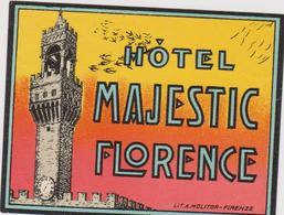 Vieux Papier : étiquette  Hotel : Majestic  FLORENCE  , Imp A  Firenze  , Italie - Etiquettes D'hotels