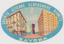 Vieux Papier : étiquette  Hotel : Societa Aziende  Alberchiere Riunite , SAVONA  , Saar , Italie - Etiquettes D'hotels