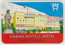 Vieux Papier : étiquette  Hotel : Grand  Hotell  Royal   , Norvège,Norway ,NARVIK - Etiquettes D'hotels