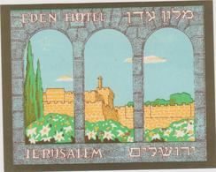 Vieux Papier : étiquette  Hotel :  Eden   Hotel , Jerusalem - Hotel Labels