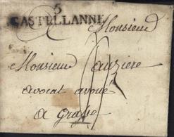 Lettre De Soleilhas 04 Du 20 Janvier 1823 5 Castellanne 49 X 11 Pour Grasse Taxe Manuscrite 3 - Marcophilie (Lettres)