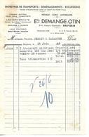Facture Lettre Demi Format / 88 VOSGES / BRUYERES / DEMANGE-OTIN / Transports Déménagements Cars GRENATS / 1943 - 1900 – 1949