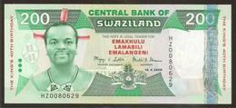 SWAZILAND. 200 Emalageni 19.4.2008. UNC. REPLACEMENT NOTE - Prefix HZ. - Swaziland