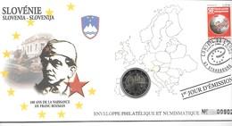 EURO SLOVENIE FDC ENVELOPPE PHILATELIQUE ET NUMISMATIQUE DU 1er JOUR D'éMISSION (A - Slovénie