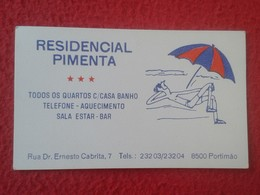 ANTIGUA TARJETA DE VISITA VISIT CARD PUBLICIDAD PUBLICITARIA O SIMIL RESIDENCIAL PIMENTA PORTIMAO PORTUGAL VER FOTO/S - Tarjetas De Visita