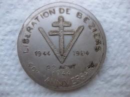 Medaille Liberation De Beziers 22 Aout 1944, 40eme Anniversaire 1984, Par L. Baudou. - France