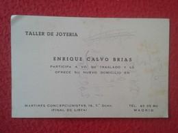 ANTIGUA TARJETA DE VISITA VISIT CARD PUBLICIDAD PUBLICITARIA O SIMIL TALLER DE JOYERÍA MADRID ESPAÑA SPAIN VER FOTO/S - Tarjetas De Visita
