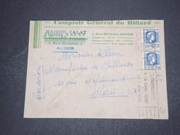 ALGÉRIE - Enveloppe Commerciale ( Billard ) De Alger Pour Paris En 1946  - L 16261 - Algérie (1924-1962)