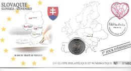 EURO SLOVAQUIE FDC ENVELOPPE PHILATELIQUE ET NUMISMATIQUE DU 1er JOUR D'éMISSION (A - Slovaquie