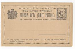 MONTENEGRO - 1893 - CARTE ENTIER POSTAL  - TYPE NICOLAS - Montenegro