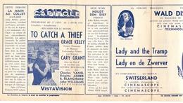 Ciné Cinema Pub Reclame Film - Programme Programma Ciné Capitole - To Catch A Thief - Grace Kelly - Walt Disney 1956 - Cinema Advertisement