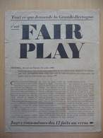 WWII WW2 Tract Flugblatt Propaganda Leaflet In French, EH(F).83, Tout Ce Que Demande La Grande-Bretagne C'est FAIR PLAY - Oude Documenten