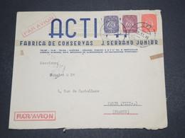 PORTUGAL - Enveloppe Commerciale De Matosinhos Pour Paris En 1948 , Affranchissement Tricolore - L 16280 - Lettres & Documents