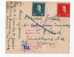 Osterreich Feldpost Veldpostbrief 1917 To Zurich With 2 Censuurmerken Censorship + Red Cross Serbe Bureau Geneve - 1850-1918 Keizerrijk
