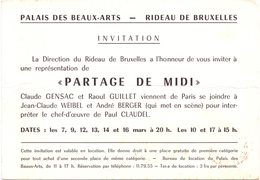 Invitation Uitnodiging Palais Des Beaux Arts - Rideau De Bruxelles - Partage Du Midi 1957 - Unclassified