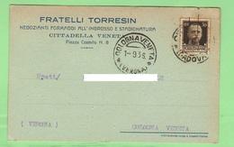 Cittadella Padova Pubblicitaria Formaggi Torresin Fratelli 1936 - Advertising