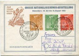 BERLIN THEME J. O. CARTE POSTALE AFFRANCHIE AVEC LES N°74/76 JEUX OLYMPIQUES D'HELSINKI OBLITERATION DUSSELDORF 26-7-53 - Sommer 1952: Helsinki