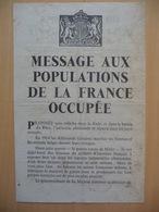 WWII WW2 Tract Flugblatt Propaganda Leaflet In French, EH(F).103, MESSAGE AUX POPULATIONS DE LA FRANCE OCCUPÉE - Oude Documenten