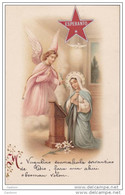 Cpa Espéranto - Religion Catholique - Vierge Marie  Archange Gabriel - Enluminure Calligraphié  - étoile Collée - Esperanto