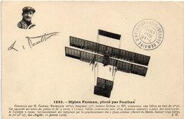 """Biplan FARMAN, Piloté Par PAULHAN - Cachet """"Grande Semaine D' Aviation - LYON"""" .   (105783) - ....-1914: Précurseurs"""