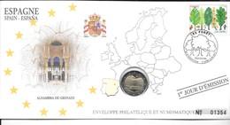 EURO ESPAGNE FDC ENVELOPPE PHILATELIQUE ET NUMISMATIQUE DU 1er JOUR D'éMISSION (A VOIR) - Espagne