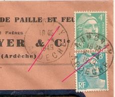 DAGUIN R/04A ANNONAY Ardèche. Avril 1949. CHAPEAUX DE PAILLE ET FEUTRES. BOYER - Marcophilie (Lettres)