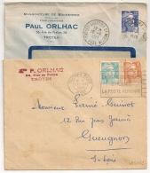TROYES GARE Et QUARTIER ST MARTIN Aube Sur 2 Enveloppes Ouvertes Tarif 12F. - Marcophilie (Lettres)