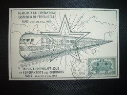 CP TRAIN TP AMBULANT 1F50 OBL.30-10 1948 EXPON PHILQUE & ESPERANTISTE PARIS + TP M.DE GANDON 3F + LORRAINE 50c OBL. - Esperanto