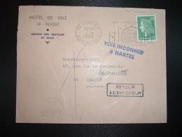 LETTRE TP M.DE CHEFFER 0,30 OBL.MEC.2-4 1970 79 NIORT RP + RETOUR Griffe Violette VOIE INCONNUE à NANTES (44) - Cachets Manuels