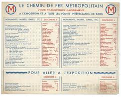 PLAN LE CHEMIN DE FER METROPOLITAIN, METRO, EXPOSITION INTERNATIONALE PARIS 1937 - Europe