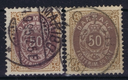Denmark : Mi Nr 30 IYa A + B Blau Violet Lila  Obl./Gestempelt/used   1875 - 1864-04 (Christian IX)