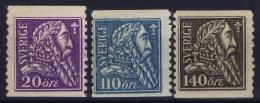 Sweden : Mi Nr 141 - 143 Fa 153 - 155 MH/* Flz/ Charniere   1921 - Schweden