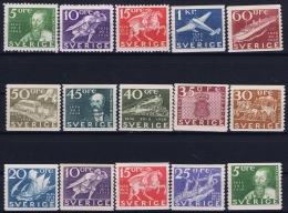 Sweden : Mi Nr 227 - 238  Fa 246 -257   MH/* Flz/ Charniere  1936 - Ongebruikt